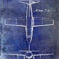1949 Airplane Patent Drawing Blue by Jon Neidert