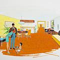 1950's Motel Room Retro Artwork by Retro Views