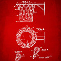 1951 Basketball Net Patent Artwork - Red by Nikki Marie Smith