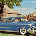 1951 Hudson Hornet Fair Americana Antique Car Auto Nostalgic Rural Country Scene Landscape Painting by Walt Curlee