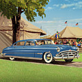 1951 Hudson Hornet - Square Format - Antique Car Auto - Nostalgic Rural Country Scene Painting by Walt Curlee