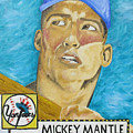 1952 Mickey Mantle Rookie Card Original Painting by Joseph Palotas