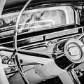 1956 Cadillac Steering Wheel -0161bw by Jill Reger