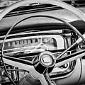 1956 Cadillac Steering Wheel -0480bw by Jill Reger