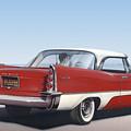 1957 De Soto Car Nostalgic Rustic Americana Antique Car Painting Red  by Walt Curlee