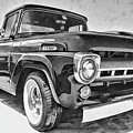 1957 Ford F100 In Black And White by Daniel Adams