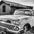 1958 Chevy Del Ray In Black And White by Terri Morris