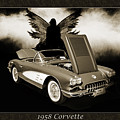 1958 Corvette By Chevrolet And Dark Angel Collage Sepia Print 35 by M K Miller
