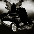 1958 Corvette By Chevrolet And Dark Angel Photograph Sepia Print by M K Miller