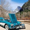1958 Corvette By Chevrolet Near River In A Color Photograph 3495 by M K Miller