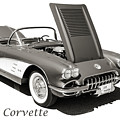 1958 Corvette By Chevrolet On White In A Sepia Photograph 3496.0 by M K Miller