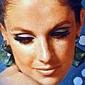 1960 70 Stylish Lady In Blue by R Muirhead Art