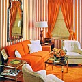 1960 70 Stylish Living Room Advertisement Orange And Stripes Groovy Baby by R Muirhead Art