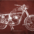 1963 Triumph Bonneville, Blueprint Red Background by Drawspots Illustrations