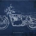 1969 Triumph Bonneville Blueprint Blue Background by Drawspots Illustrations