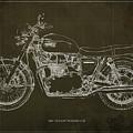 1969 Triumph Bonneville Blueprint Brown Background by Drawspots Illustrations