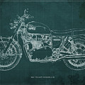 1969 Triumph Bonneville Blueprint Green Background by Drawspots Illustrations