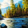 Nature Oil Painting Landscape by World Map