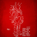 1973 Space Suit Patent Inventors Artwork - Red by Nikki Marie Smith