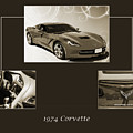 1974 Red Corvette By Chevrolet Collage Sepia Print 3514.01 by M K Miller