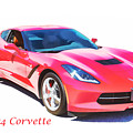 1974 Red Corvette By Chevrolet Painting Print 3480.02 by M K Miller