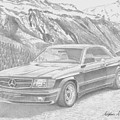 1984 Mercedes Benz 560 Sec Amg Classic Car Drawing by Stephen Rooks