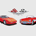 1986 And 1961 Corvettes by Jack Pumphrey