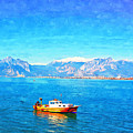 A Digitally Constructed Painting Of A Small Fishing Boat  With Snow Covered Mountains In Antalya Turkey by Ken Biggs