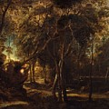 A Forest At Dawn With A Deer Hunt by Peter Paul Rubens