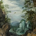 A Rocky Landscape With Travelers by Roelandt Savery