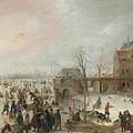 A Scene On The Ice Near A Town by Hendrick Avercamp