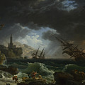 A Shipwreck In Stormy Seas by Claude-Joseph Vernet