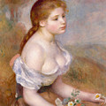 A Young Girl With Daisies by Auguste Renoir