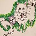 American Eskimo Dog by Geraldine Myszenski