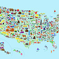 Animal Map Of United States For Children And Kids by Michael Tompsett