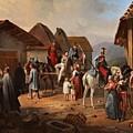 Austrian Cavalry Resting In A Village by Albrecht Adam