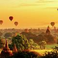 Bagan Pagodas And Hot Air Balloon by Pradeep Raja PRINTS