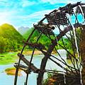 Bamboo Water Wheel by MotHaiBaPhoto Prints