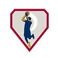Basketball Player Jump Shot Ball Shield Retro by Aloysius Patrimonio