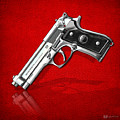 Beretta 92fs Inox Over Red Leather  by Serge Averbukh
