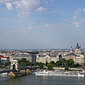 Chain Bridge On Danube River Budapest Cityscape by Goce Risteski