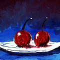 2 Cherries On A White Plate by Gary Henderson