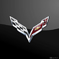 Chevrolet Corvette 3d Badge On Black by Serge Averbukh