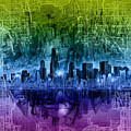Chicago Skyline Abstract by Bekim M