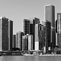 Chicago Skyline In Black And White by Terri Morris