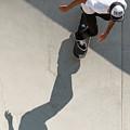 Colombian Skater Cris Arevalo At Pala Skatepark San Diego Califo by Adam Rainoff