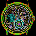 Coloured X-ray Of A 17-jewel Wrist-watch by D. Roberts