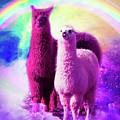 Crazy Funny Rainbow Llama In Space by Random Galaxy