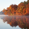 Fall Sunrise At Cox Hollow Lake In Governor Dodge State Park by Matthew Kirsch