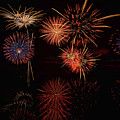 Fireworks Reflection In Water Panorama by OLena Art - Lena Owens